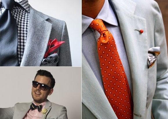 Gri takım elbise kravat papyon