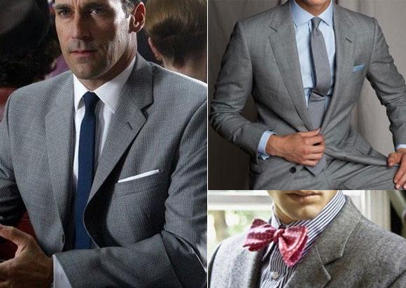 Gri takım elbise mavi kombinasyonu