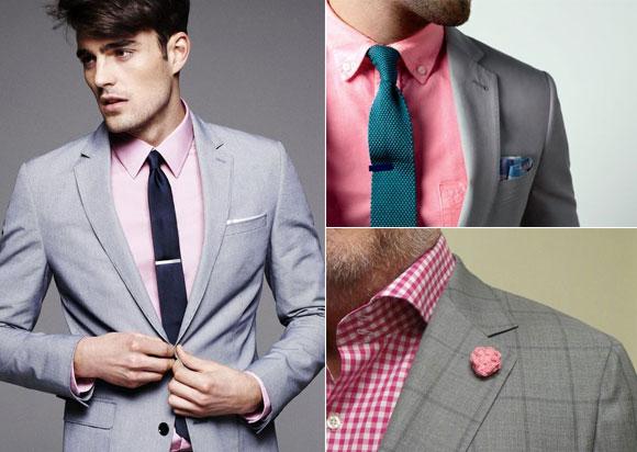 Gri takım elbise pembe gömlek kombinasyon